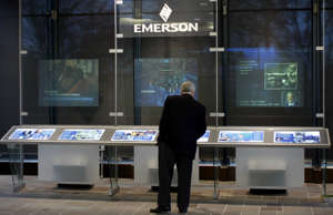 A visitor views a display about the history of Emerson Electric at the company's...