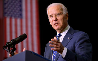 U.S. Vice President Joe Biden speaks as he introduces US President Barack Obama ...
