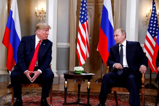 U.S. President Donald Trump meets with Russia's President Vladimir Putin in Hels...