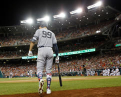 New York Yankees Aaron Judge (99) walks out to bat during the sixth inning at th...