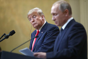 HELSINKI, FINLAND  JULY 16, 2018: US President Donald Trump (L) and Russia's Pre...
