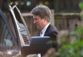 Supreme Court nominee Judge Brett Kavanaugh leaves his home September 19, 2018, ...