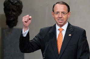 US Deputy Attorney General Rod Rosenstein speaks during the Second Annual Attorn...