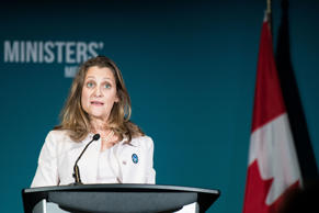 Canadian Foreign Minister Chrystia Freeland speaks during the Women Foreign Mini...
