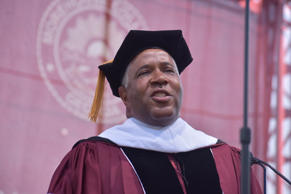 Billionaire Robert F. Smith speaks at a Morehouse event in Atlanta last year.