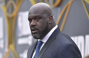 Shaquille O'Neal arrives at the NBA Awards on Monday, June 24, 2019, at the Bark...