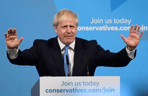 Boris Johnson speaks after being announced as Britain's next Prime Minister at T...