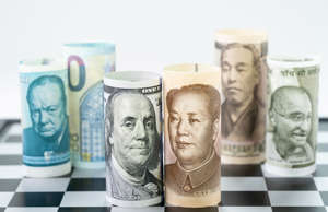 US Dollar and China bank roll at front surrund with world major countries, india...
