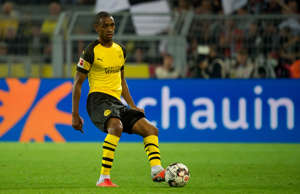 DORTMUND, GERMANY - SEPTEMBER 14: Abdou Diallo of Borussia Dortmund controls the...