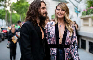 PARIS, FRANCE - JUNE 30: Couple Tom Kaulitz and Heidi Klum is seen outside Amfar...