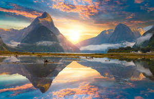 Famous Mitre Peak rising from the Milford Sound fiord. Fiordland national park, ...