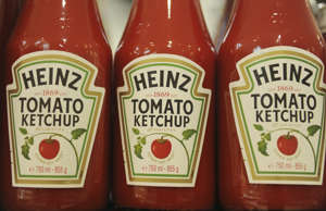 Bottles of Heinz ketchup are on display in a shop in Hamburg, Germany, 14 Februa...