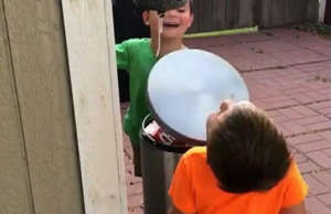 'Three Stooges' fans? Boys create some hilarious fun with a trash can