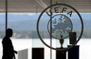 A logo is pictured on UEFA headquarters in Nyon, Switzerland, April 15, 2016.   ...