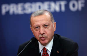 Turkey's president Recep Tayyip Erdogan speaks during a joint press conference w...