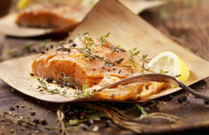 Grilled salmon on cedar plank