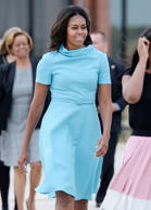 First Lady Michelle Obama arrives to welcome His Holiness Pope Francis on his ar...