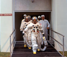 Cape Kennedy, Fla.: After suiting up, Apollo 12 astronauts head for transfer van...
