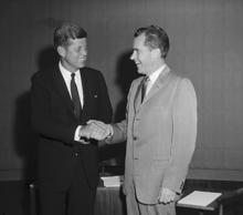 (Original Caption) Democratic presidential nominee John F. Kennedy (L) and Vice ...