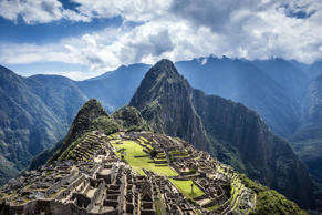 Aerial view of Machu Picchu ruins in remote landscape, Cusco, Peru