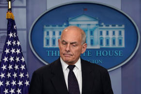 White House Chief of Staff John Kelly speaks to the media during the daily brief...