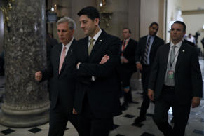 Speaker of the House Paul Ryan, at right, and House Majority Leader Kevin McCart...