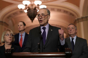 U.S. Senate Minority Leader Chuck Schumer speaks to the media as Senate Minority...