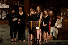 Jenna Bush Hager speaks during a funeral service for her grandmother, former fir...