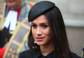 FILE - In this Tuesday, Feb. 12, 2019 file photo, Meghan, Duchess of Sussex arri...