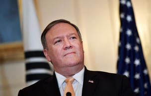 US Secretary of State Mike Pompeo takes part in a joint press conference with So...