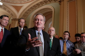 Sen. Mike Crapo, R-Idaho, chairman of the Senate Banking Committee, joined by, f...