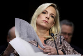 Homeland Security Secretary Kirstjen Nielsen testifies during a hearing held by ...