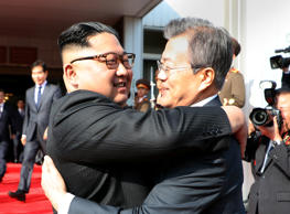 North Korean leader Kim Jong Un and President Moon Jae-in met in the border truc...