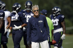 Seattle Seahawks head coach Pete Carroll in action during an NFL football traini...
