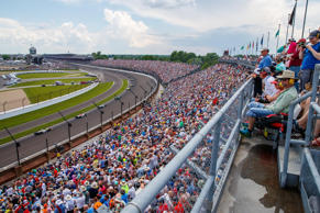Cars round turn four during the 102nd Running of the Indianapolis 500 at Indiana...