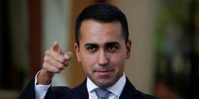 5-Star new leader Luigi Di Maio gestures during an interview with journalists in...