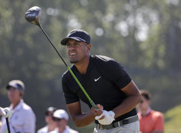 Tony Finau plays his shot from the ninth tee during the final round of the U.S. ...