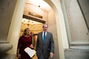 Rep. Bob Goodlatte, R-Va., followed by Rep. Ann Wagner, R-Mo., leaves Speaker Ry...