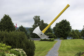 Nackawic, New Brunswick, Canada - June 25, 2014: World's largest axe in Nackawic...