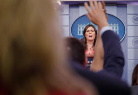 White House press secretary Sarah Huckabee Sanders speaks to the media during th...