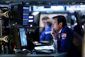 A trader works on the floor of the New York Stock Exchange (NYSE) on September 2...