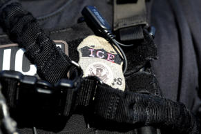 The badge of a U.S. Immigration and Customs Enforcement's (ICE) Fugitive Operati...