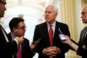 In this May 10, 2017 file photo, Senate Majority Whip John Cornyn of Texas talks...