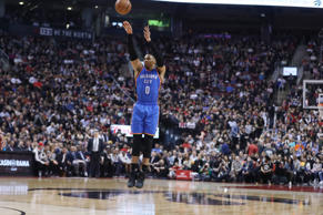 TORONTO, ON- MARCH 16 - Wide open, Oklahoma City Thunder guard Russell Westbrook...