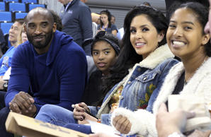 From left, Los Angeles Lakers legend Kobe Bryant, his daughter Gianna Maria-Onor...