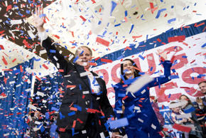 Alabama Democrat Doug Jones celebrate his victory over Judge Roy Moore at the Sh...