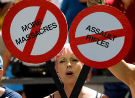 A protester is framed by signs calling for more gun control three days after the...