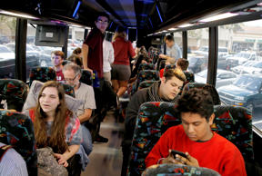 Marjory Stoneman Douglas High School students board buses to travel to Tallahass...