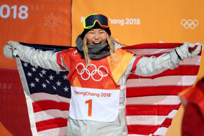 Gold medalist Chloe Kim #1 of the United States celebrates'n her gold medal win ...