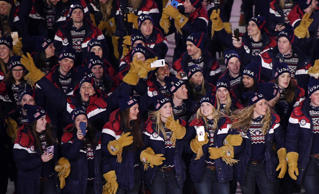 Team USA athletes are seen during the Opening Ceremony of the PyeongChang 2018 W...